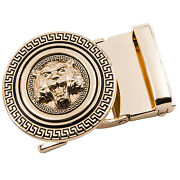 Usa Dibangu Mens Automatic Ratchet Buckle Round Gold Solid 33mm To 35mm Belt Fit