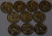 Gs378 - Uganda 10 Coins Lot 50 Cents 1976 Km4a Xf-unc Scarce Year Type