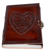 Celtic Heart Handmade Vintage Large 8 Embossed Leather Bound Journal With Lock
