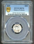 2000 10 Platinum State Of Liberty Ms 70 Pcgs, Only 5 Known In Pcgs
