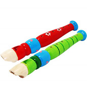 2 Pcs Small Wooden Recorders For Toddlers, Colorful Piccolo Flute For Rhythm For