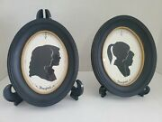 2 Vintage Walt Disney World Silhouette Oval Glass Picture Frame Children/adults