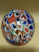 Vintage Millefiori Egg Shaped Art Glass Paperweight. 3.5. Hearts Floral