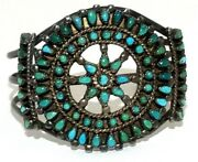 Zuni Tribal Cuff Vintage Silver Turquoise Large Ornate Bracelet Rare Collectable