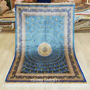 Yilong 4and039x6and039 Blue Silk Area Rug Handmade Dome Pattern Carpets Hand-knotted 315a