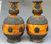 12 Beeswax Inlay Pure Silver 8 Auspicious Symbol Collected Bottle Vase Pair