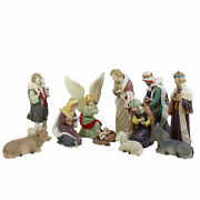 11pc Ivory And Brown Christmas Religious Nativity Figurine Set 18