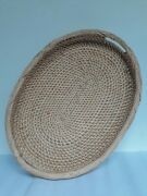 Handmade Cane Tray Kitchen Serving Natural Rattan Round Woven Quality Storage