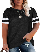 Womens Plus Size Tunic Tops Short Sleeve Oversized T Shirts Loose Casual Tee Blo