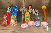 Lot Of 14 Vintage New Years Noise Makers Whistles Toys Clown Kirchhof Metal