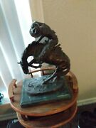 Rattlesnake Bronze Sculpture By Frederic Remington Very Heavy.