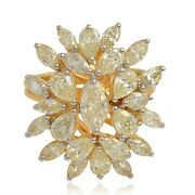 3.50 Tcw Si/hi Marquise And Pear Diamond Cluster Ring 14k Yellow Gold Jewelry