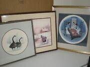 Set Of 3 P Buckley Moss Sign Prints Amish Girls Quilt Cameo Geese Horse Carriage