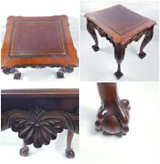 Hand Curved Top Leather Coffee Table Solid Wood Claw Feet Antique Style