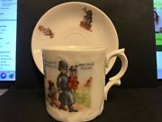 Antique Charlie And Charlotte Porcelain Childs Nursery Rhyme Cup And Saucer