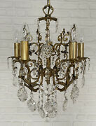 Antique Vintage 5 Arms Cast Brass And Crystals Chandelier Lighting Lamp