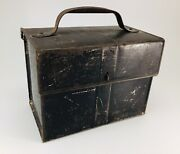 Vintage Miner Black Tin Metal Lunch Box Bucket Pail With Hinged Lid