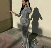Muslim Gray Gowns Dresses Sparkly Mermaid Empire Diamond Sequined Beadings Tulle
