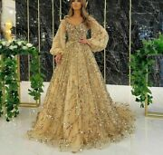 Party Dresses Sexy Gowns Gold A Line Puff Sleeves Beading V Neck Polyester Tulle