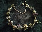 Genuine Pandora Charm Bracelet. 12 Silver Gold Charms And Safety Chain Some Rare.