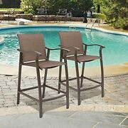 Outdoor Counter Height Bar Stools Set Of 2 Classic Patio Furniture Bar Chairs...