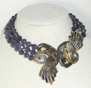 Heidi Daus Irresistibly Yours Purple Beaded Crystal Choker Necklace