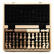Wooden Chess And Checkers Set / Folding Board / 3 King Height German Knight New