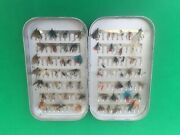 Vintage Wheatley Silmalloy Clip Fly Box. Approx 60 Fishing Flies
