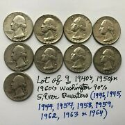 Lot Of Nine9 2.25 Value 1940and039s/1950and039s/1960and039s 90 Silver Washington Quarters