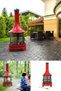 Outdoor Fireplace With Cooking Grill Sturdy Solid Steel Removable Ash Pan Red