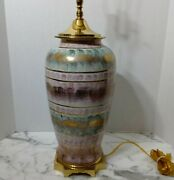 Mcm Quality Wildwood Pink Green Vintage Lamp Brass And Ceramic Replaced Cord