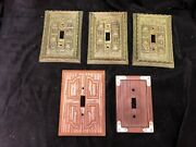 5 Vtg Mcm Kitchy Light Switch Plates Wall Decor Single Toggle General Electric
