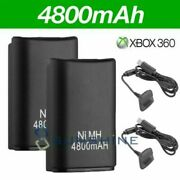 For Microsoft Xbox 360 Wireless Controller 2x Battery Pack + Charger Cable Black