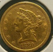 1880-s Five Dollar U.s.gold Type 2 With Motto. Better Issue Higher Grade From Sf