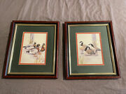 Set Of 2 Vintage Anni Moller Prints Of Ducks Framed And Double Matted