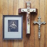 Lot Of 2 Crucifix Saint Therese The Little Flower C Bosseron Chambers Holy Water