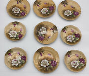 Vintage Lefton China Hand Painted Heritage Rose Saucer And Desert Plates 1883/82