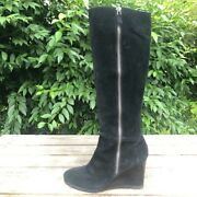 Franco Sarto Watch Black Suede Wedge Boots Womens Size 8m Knee High Full Zip