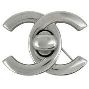 Coco Mark Brooch Cc Turn Lock Silver Plated Women And039s Previously No.8802