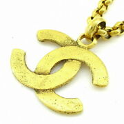 Necklace Coco Mark Gold Metal Material Previously Owned No.561