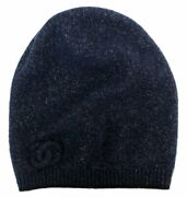 Hat Knit Cap Coco Mark Cashmere Navy Blue Women And039s Lame No.826