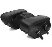 Universal Pair Motorcycle Saddle Bags Black Pu Leather Travel Luggage Left+right