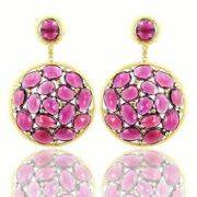Rubylite Pave Diamond 925 Sterling Silver Dangle Earring Engagement Gift Jewelry