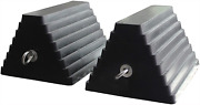 Solid Rubber Heavy Duty Vehicle Wheel Chock With Eyebolt 2 Pack Tire Blocks New