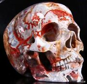 Huge 5.1 Red Crazy Lace Agate Carved Crystal Skull Super Realistichealing383