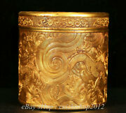 9 Old Chinese Copper 24k Gold Gilt Dynasty Dragon Bead Jewelry Box Jewel Case