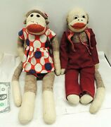 2 Vintage 1950s-70s Sock Monkey Couple Pair 20 Tall Clothing Hat Suit Dress