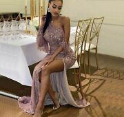 Sexy Formal Dress Pink One Shoulder Sparkle Beaded Crystal Court Train Polyester