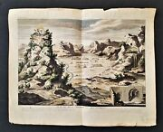 C1720 Antique Mount Tabor Engraving Colored Plan Du Mont Thabor Holy Land Art