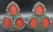 Pair Mexico 925 Sterling Turquoise Coral Amethyst Tri Picture Frame By Cecilia